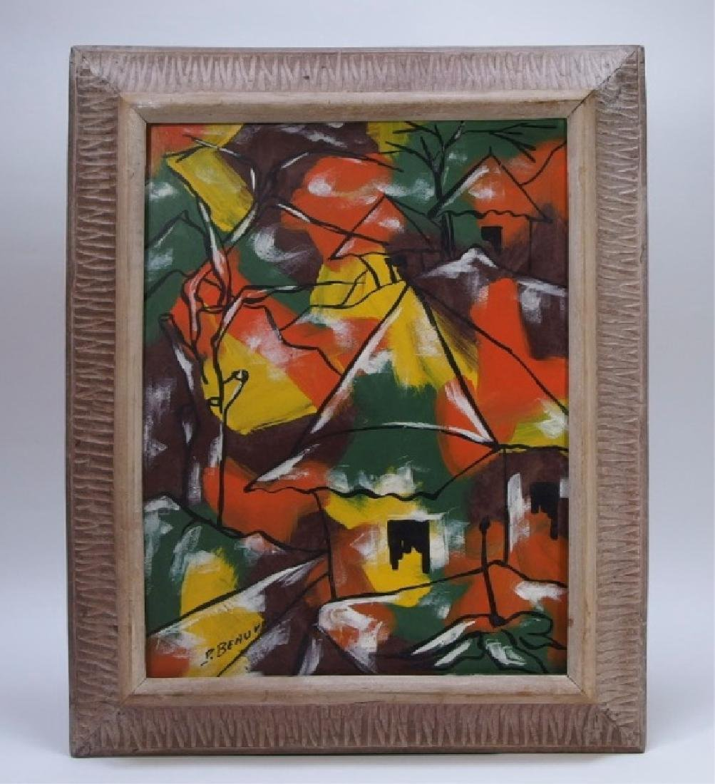 Paul Beauvoir Haitian Village Abstract Painting - 2