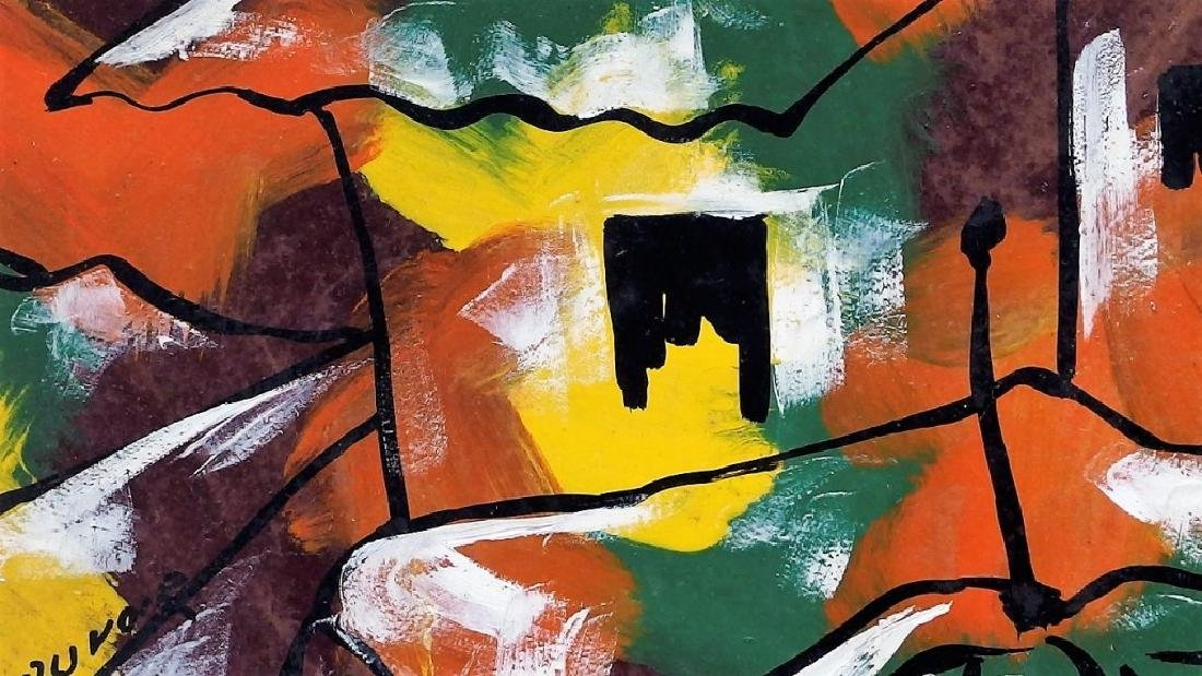 Paul Beauvoir Haitian Village Abstract Painting - 4