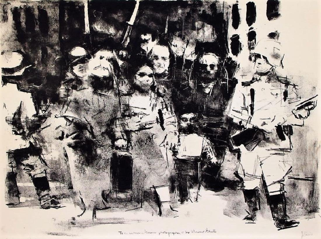 Jack Levine Abstract Warsaw Ghetto Lithograph
