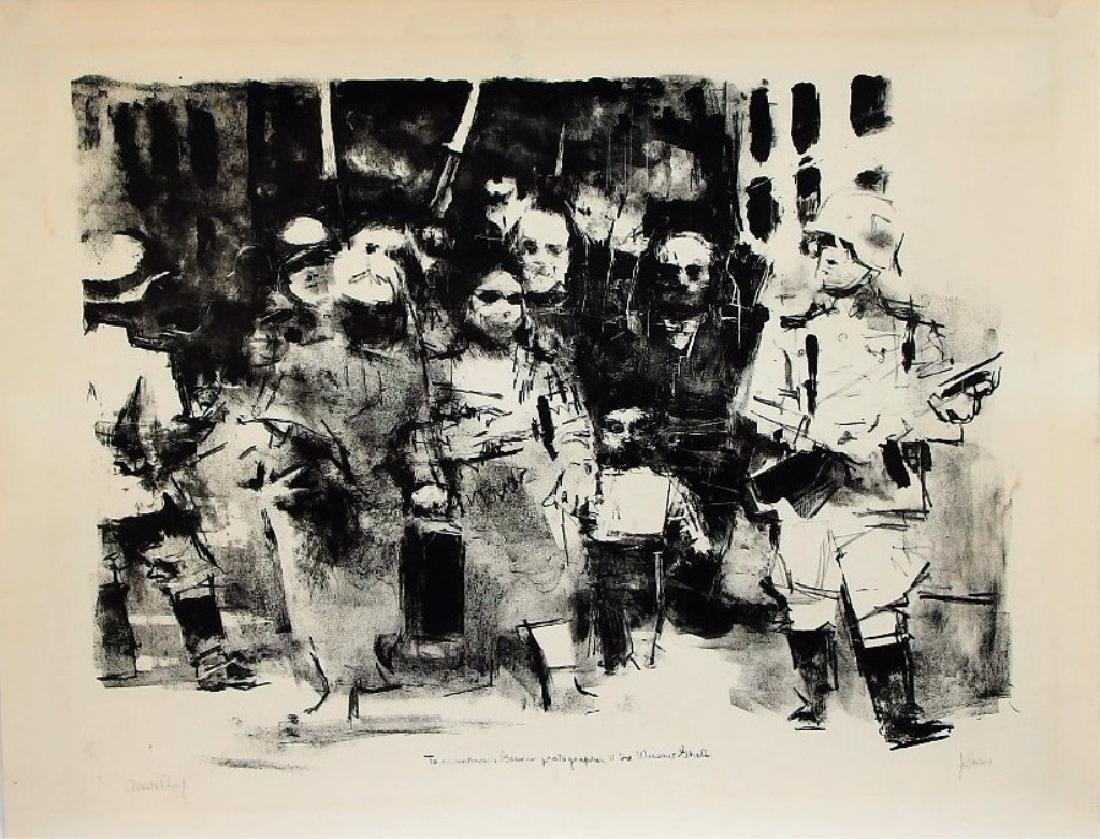 Jack Levine Abstract Warsaw Ghetto Lithograph - 2