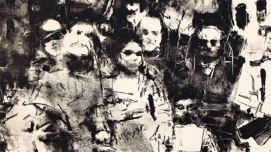 Jack Levine Abstract Warsaw Ghetto Lithograph - 3