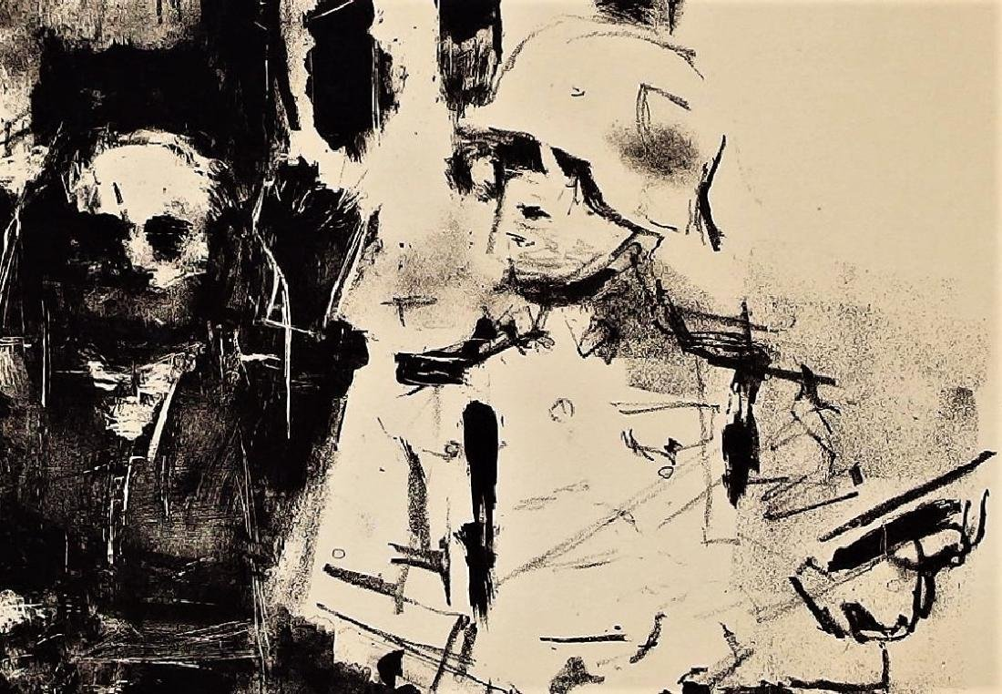 Jack Levine Abstract Warsaw Ghetto Lithograph - 4