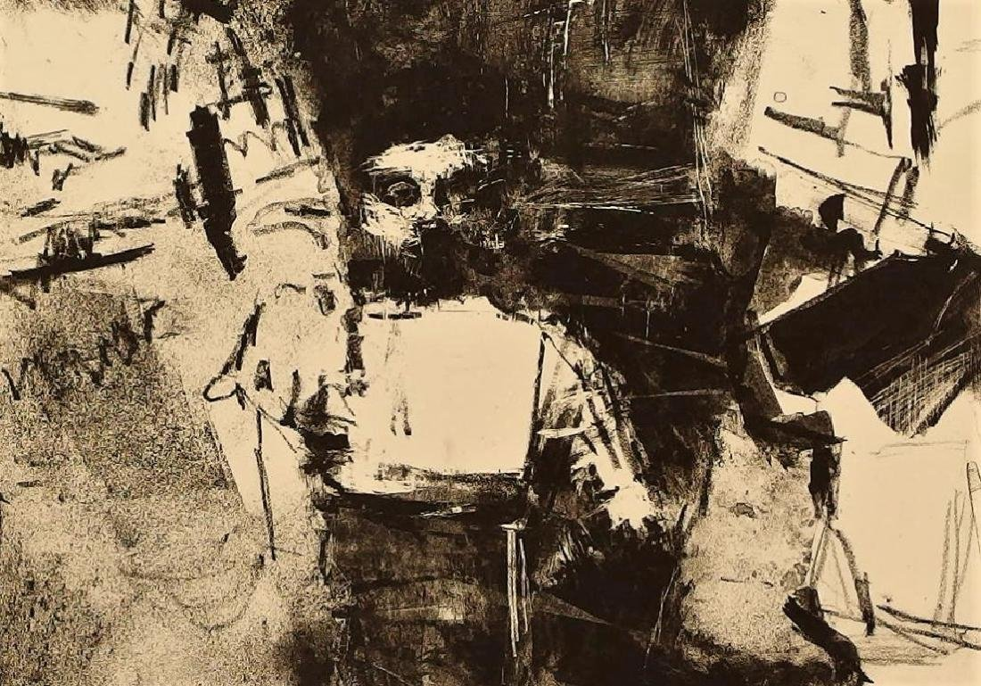 Jack Levine Abstract Warsaw Ghetto Lithograph - 5
