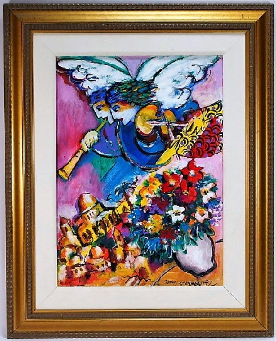 Zamy Steynovitz Judaic Abstract Oil Painting - 3