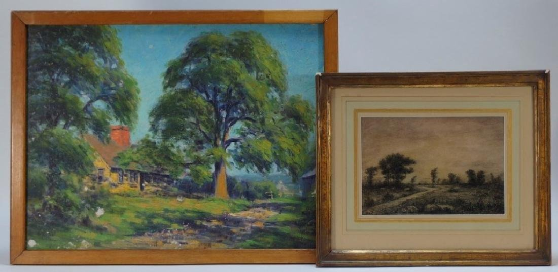 Arthur Ward Landscape Painting w/ Charcoal Drawing
