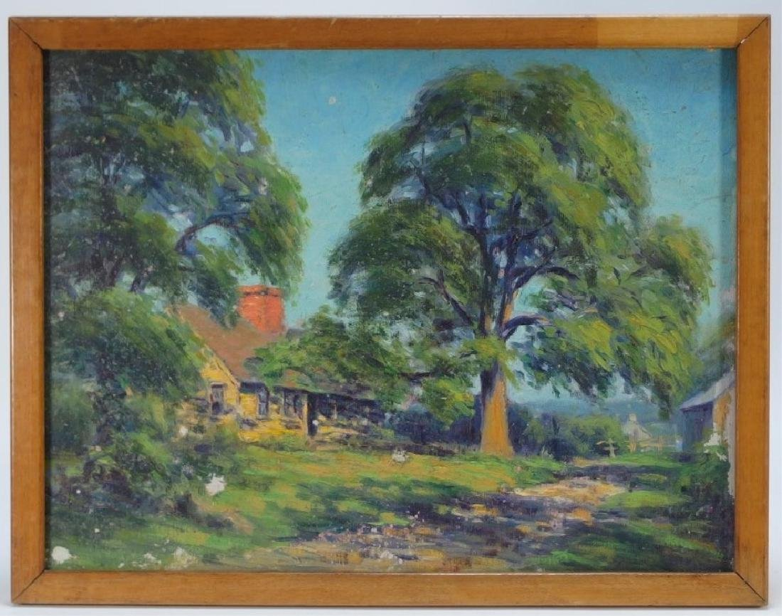 Arthur Ward Landscape Painting w/ Charcoal Drawing - 2