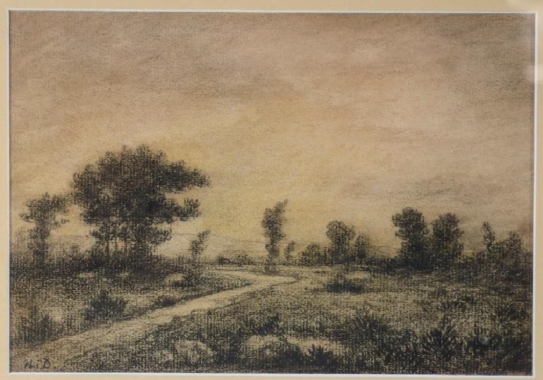 Arthur Ward Landscape Painting w/ Charcoal Drawing - 5