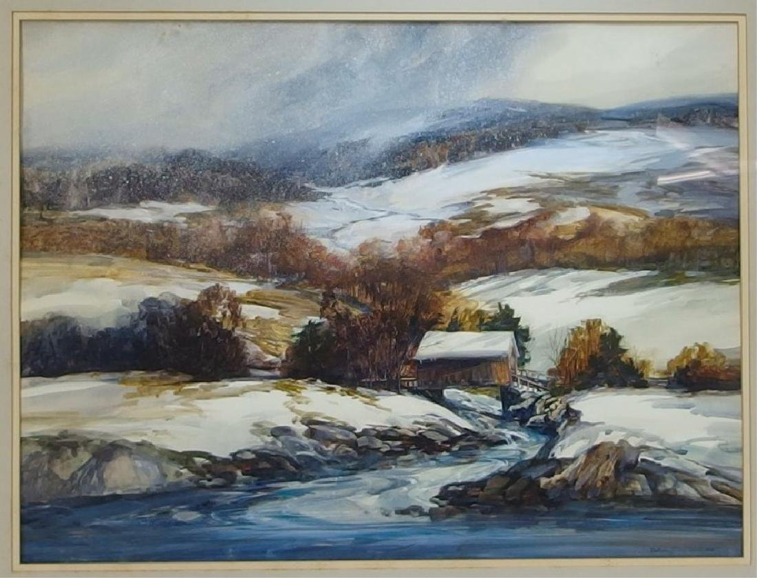 Nathalie Nordstrand Vermont Winter WC Painting