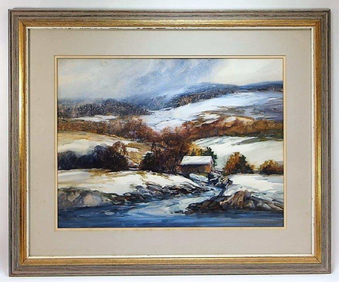 Nathalie Nordstrand Vermont Winter WC Painting - 2