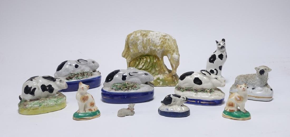 11 Late 18C. English Staffordshire Pottery Animals