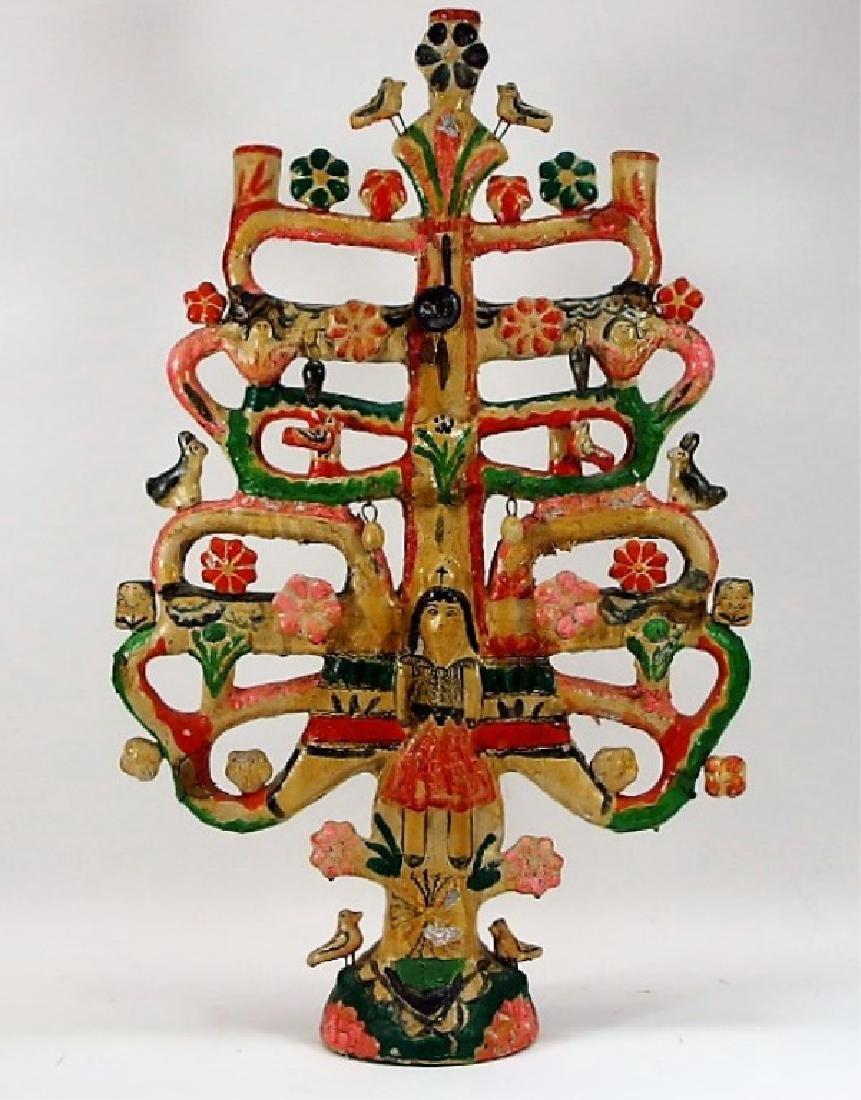 Attrib Aurelio Flores Mexican Pottery Tree of Life
