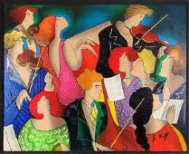 Linda Le Kinff Serigraph on Wood of an Orchestra
