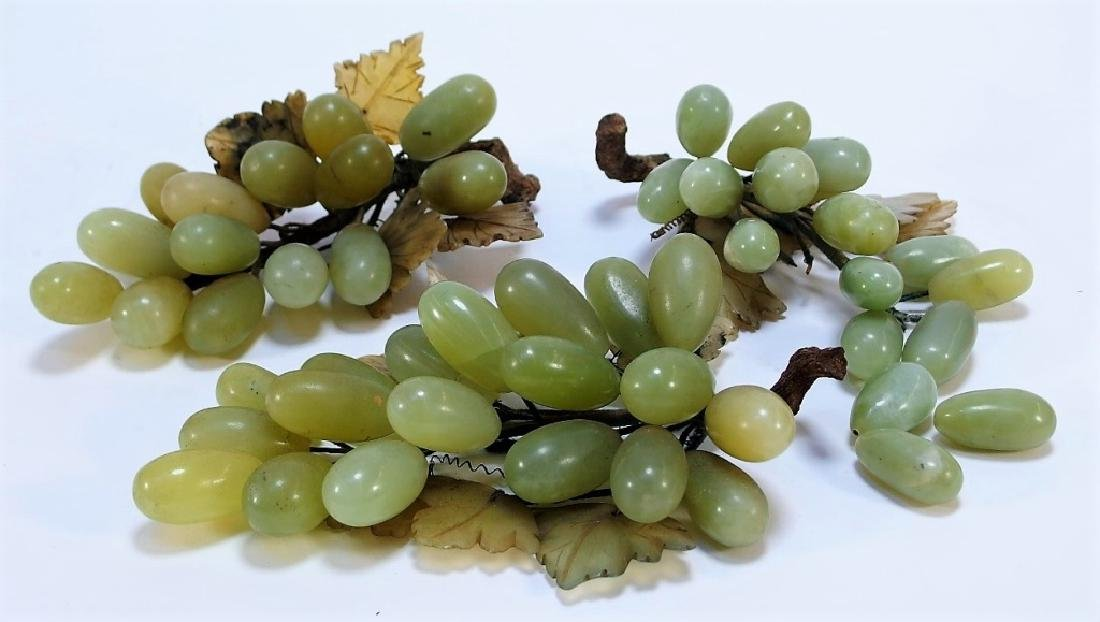 3 Chinese Celadon Jade Hardstone Grape Clusters