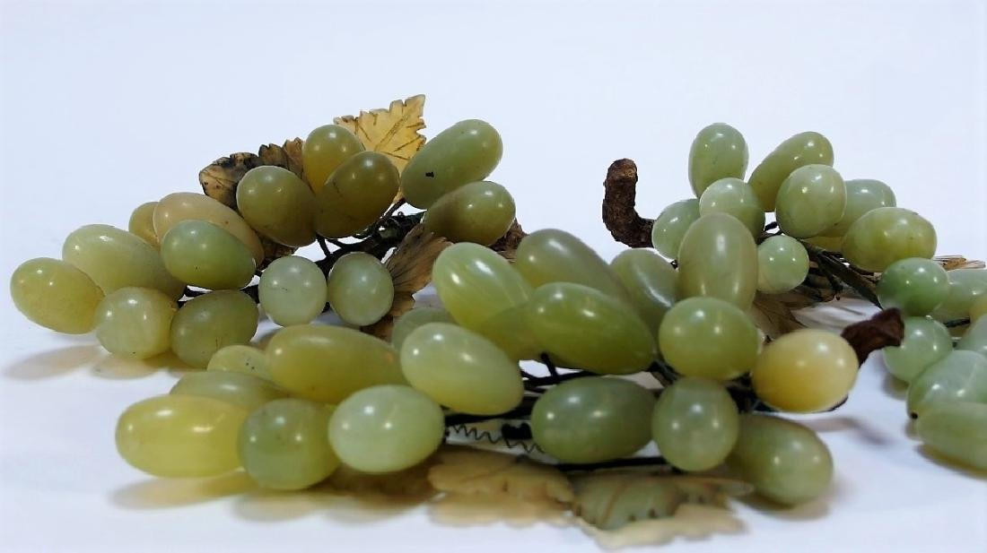 3 Chinese Celadon Jade Hardstone Grape Clusters - 2