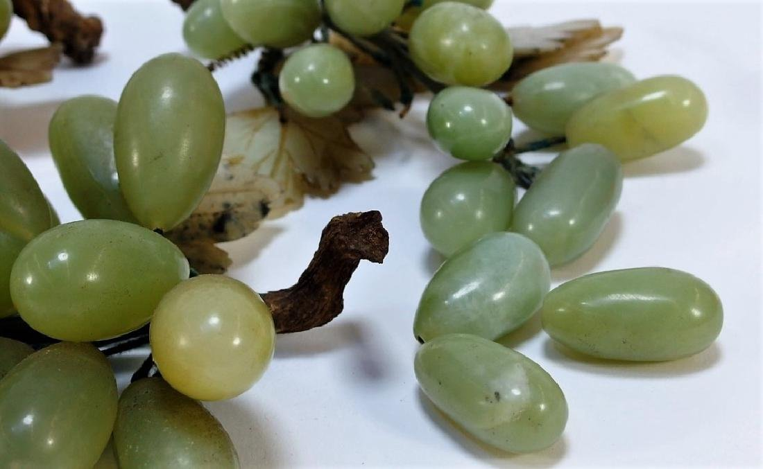 3 Chinese Celadon Jade Hardstone Grape Clusters - 3