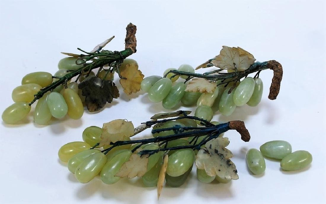 3 Chinese Celadon Jade Hardstone Grape Clusters - 4