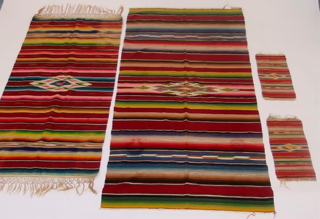 4 Mexican Tribal Geometric Woven Textile