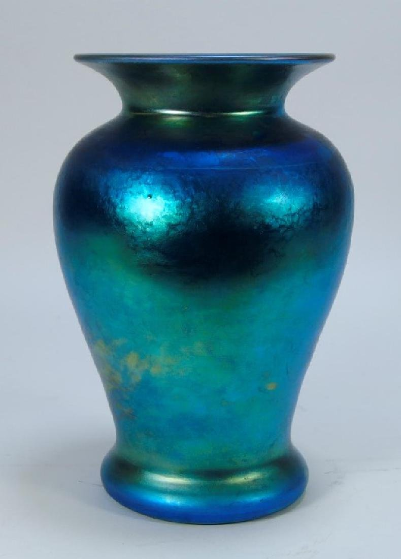 Steuben Aurene Blue & Gold  Art Glass Vase