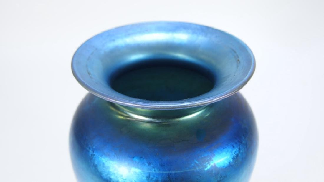 Steuben Aurene Blue & Gold  Art Glass Vase - 2