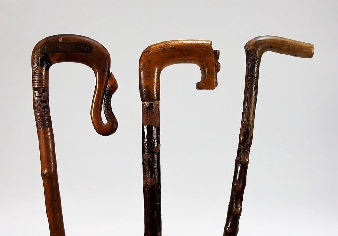 3 Irish Polished Blackthorn Walking Stick Canes