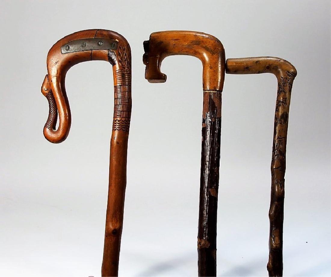 3 Irish Polished Blackthorn Walking Stick Canes - 2