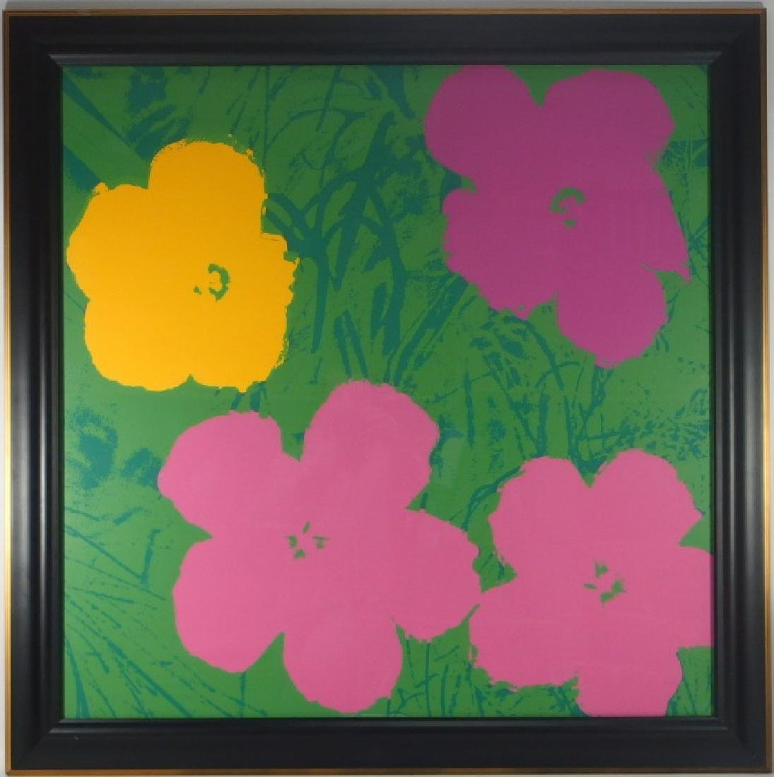 Andy Warhol Screen Print on Paper of Flowers