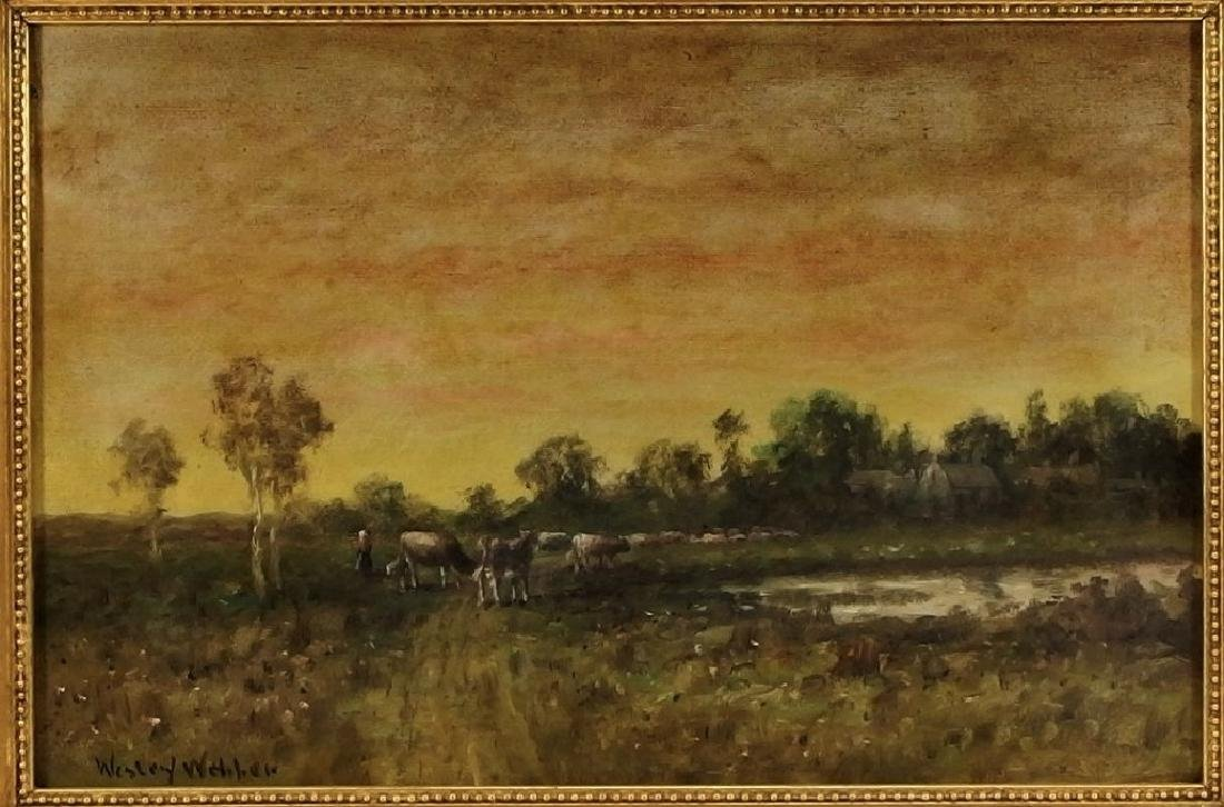 Wesley Webber O/C Painting of Cows at Sunset - 2