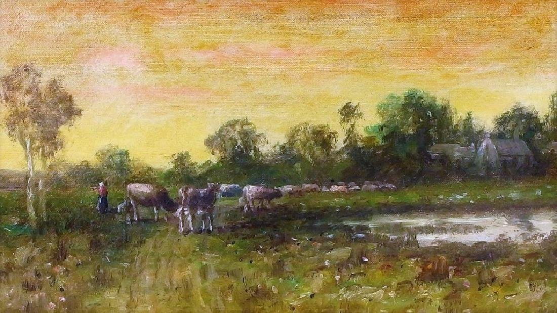 Wesley Webber O/C Painting of Cows at Sunset - 3