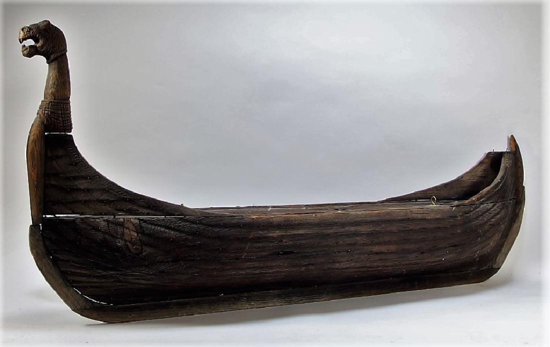 Carved Wood Viking Boat Ship Model