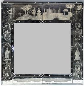 Italian Venetian Glass Etched Mirror