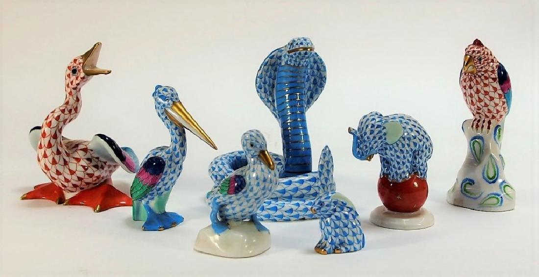 7 Herend Porcelain Fishnet Animal Figurines