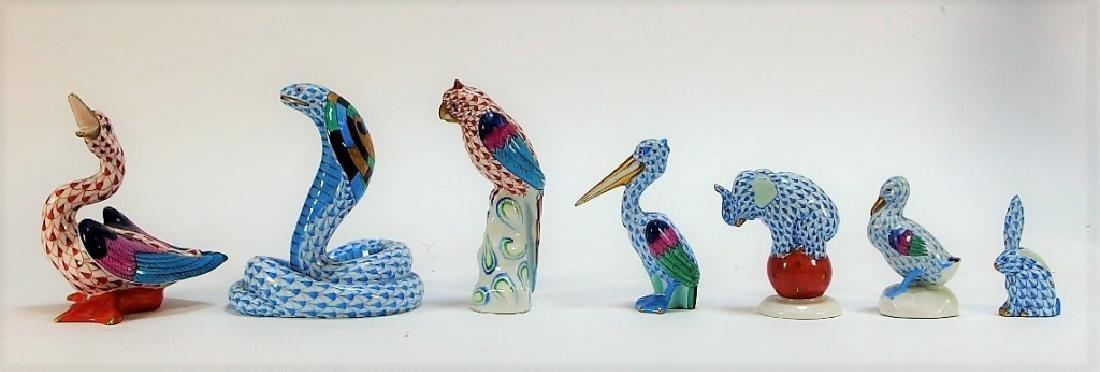 7 Herend Porcelain Fishnet Animal Figurines - 2