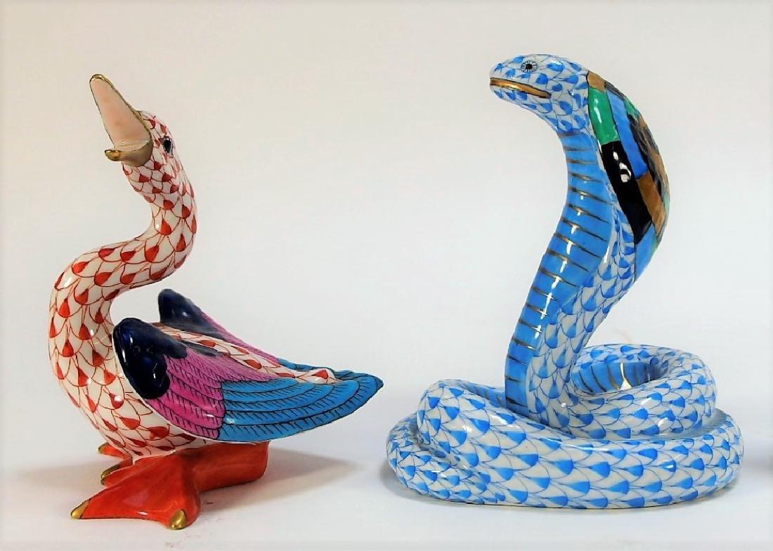 7 Herend Porcelain Fishnet Animal Figurines - 3
