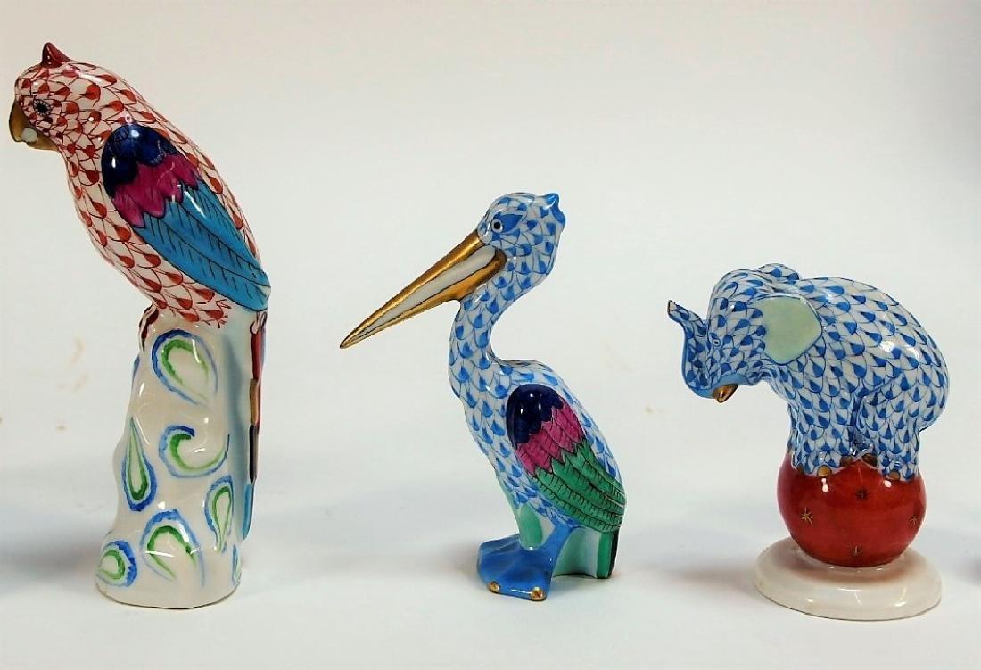 7 Herend Porcelain Fishnet Animal Figurines - 4