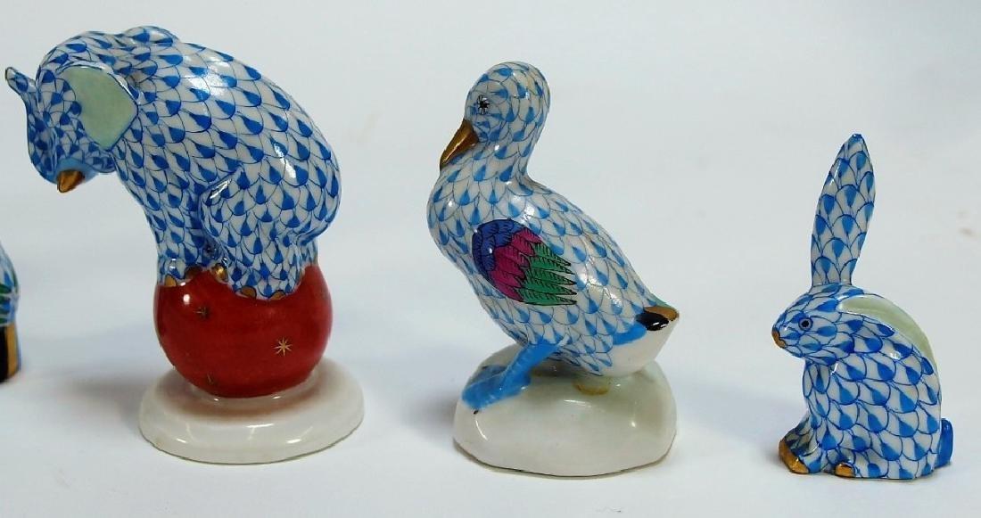7 Herend Porcelain Fishnet Animal Figurines - 5