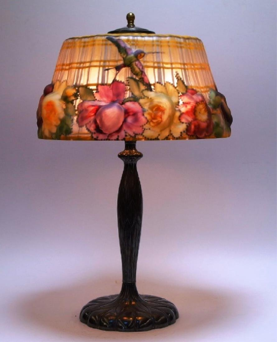 Pairpoint Puffy Hummingbird & Rose Table Lamp