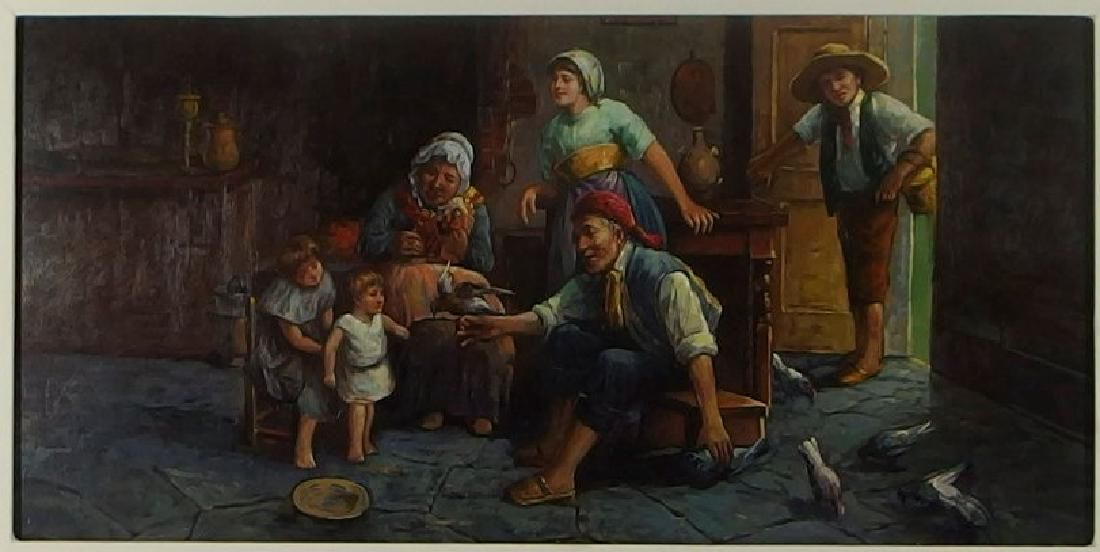 European Contemporary Oil on Board Genre Painting