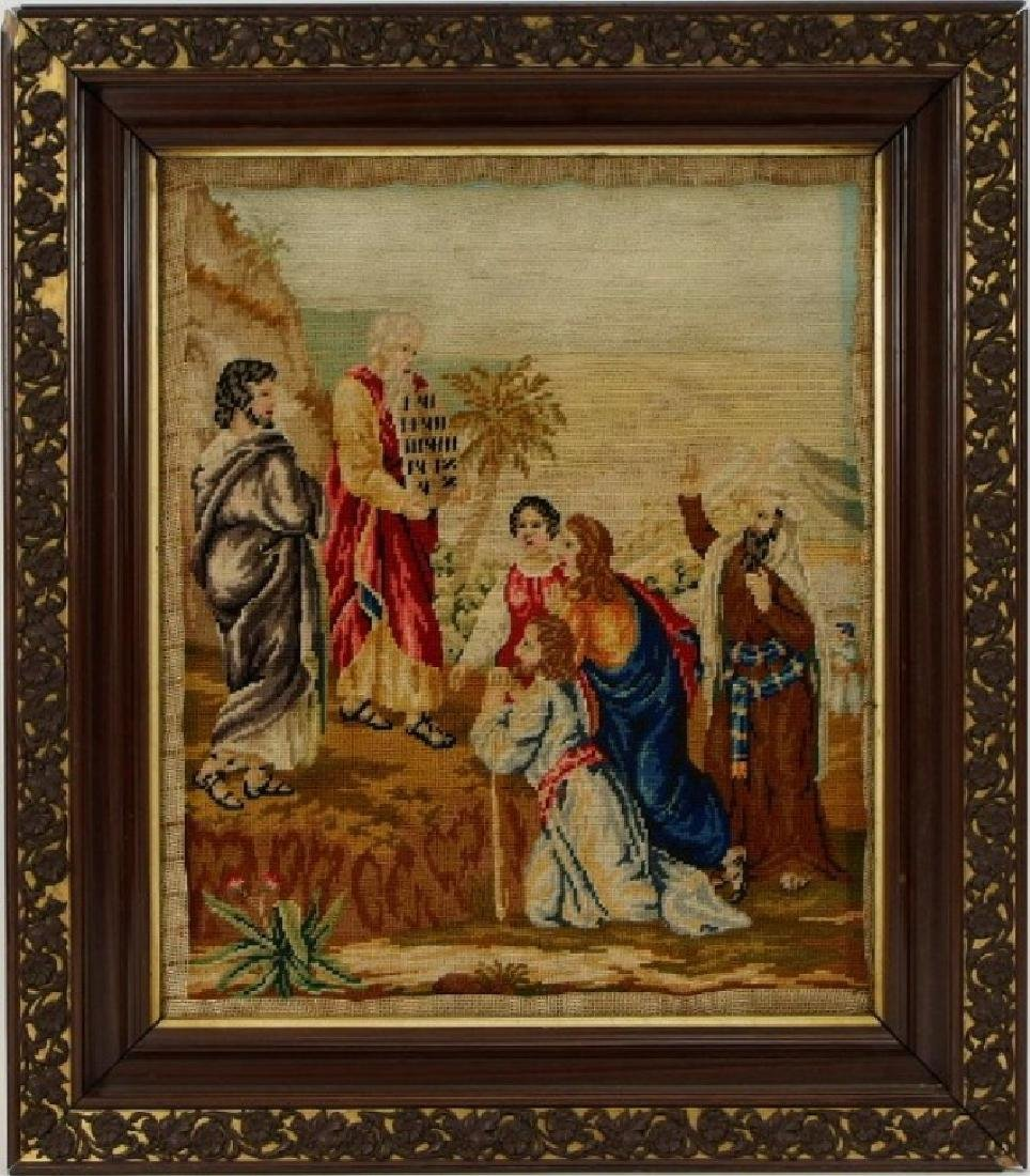 Victorian Religious Needlepoint Textile of Moses