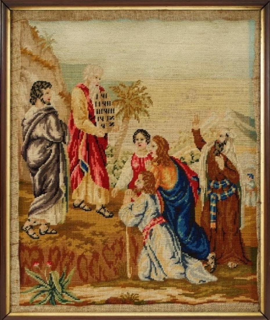 Victorian Religious Needlepoint Textile of Moses - 2