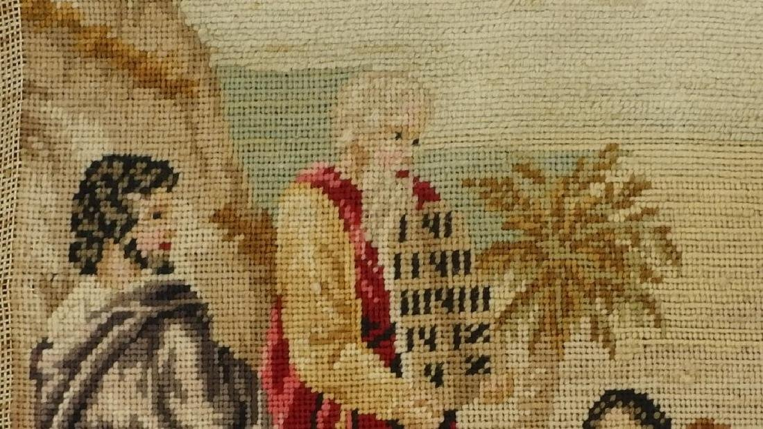 Victorian Religious Needlepoint Textile of Moses - 4