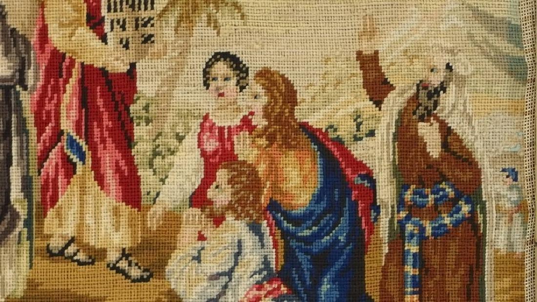 Victorian Religious Needlepoint Textile of Moses - 5