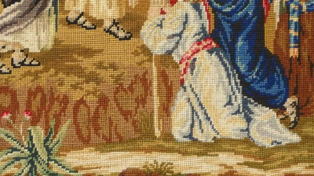 Victorian Religious Needlepoint Textile of Moses - 6
