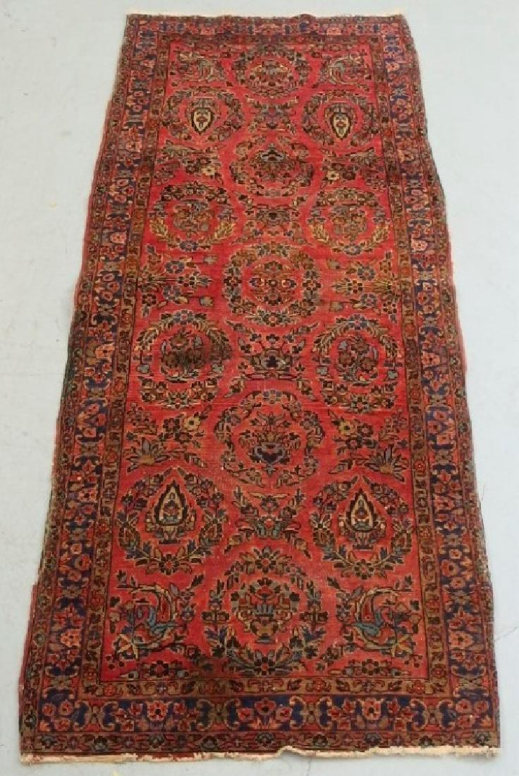 Antique C.1920 Red Sarouk Runner Carpet Rug