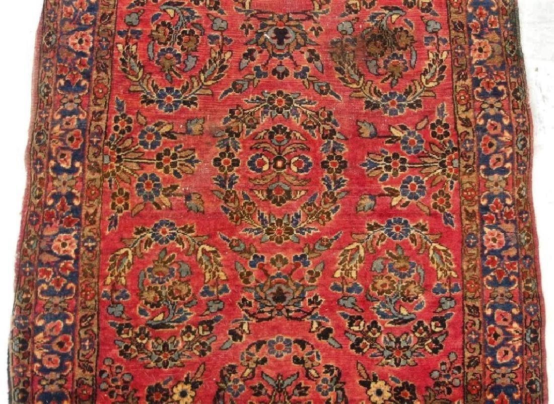Antique C.1920 Red Sarouk Runner Carpet Rug - 3