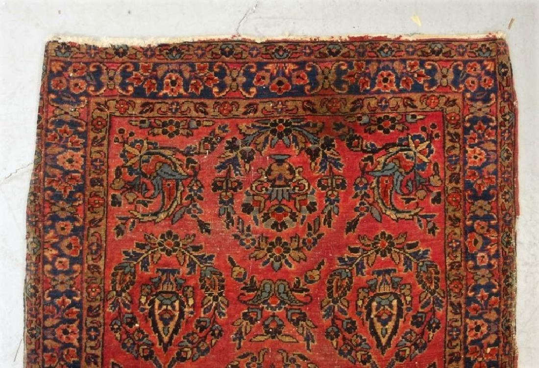 Antique C.1920 Red Sarouk Runner Carpet Rug - 4