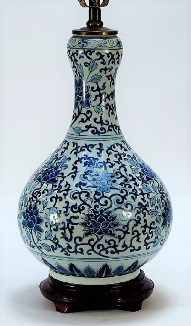 Chinese Export Blue & White Porcelain Vase Lamp