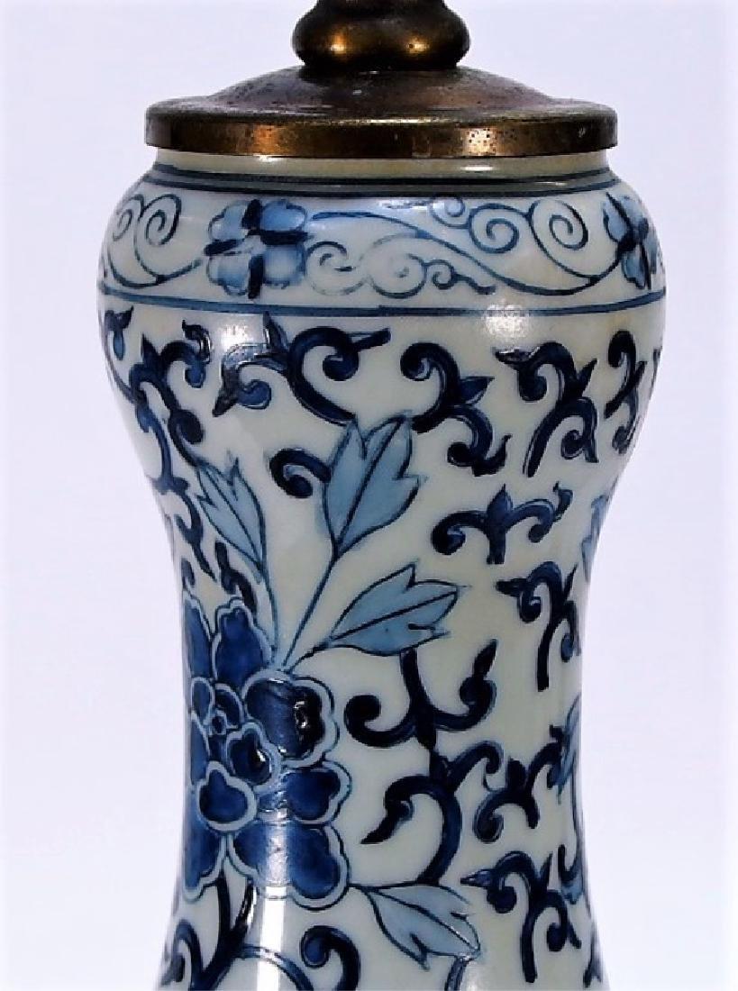 Chinese Export Blue & White Porcelain Vase Lamp - 3