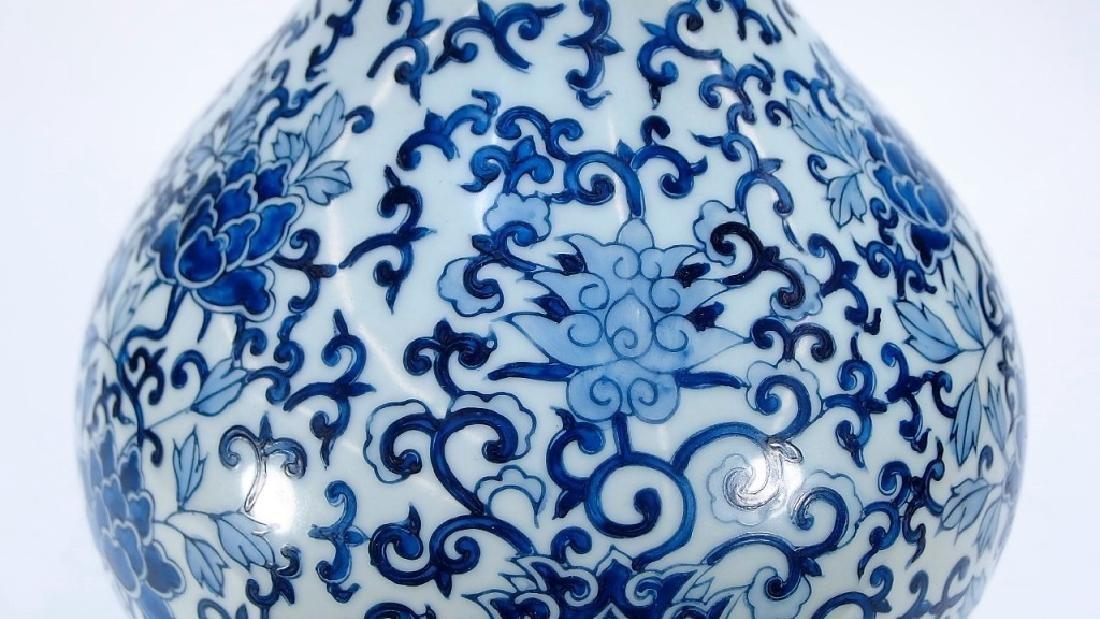 Chinese Export Blue & White Porcelain Vase Lamp - 4