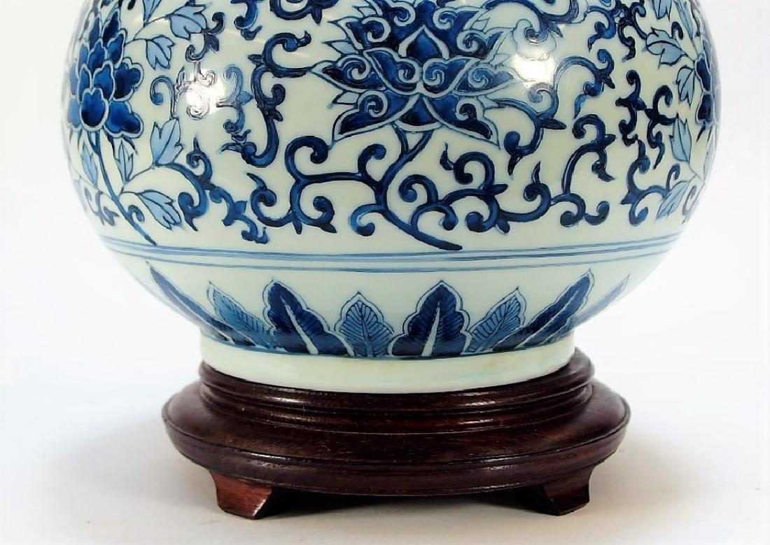 Chinese Export Blue & White Porcelain Vase Lamp - 5