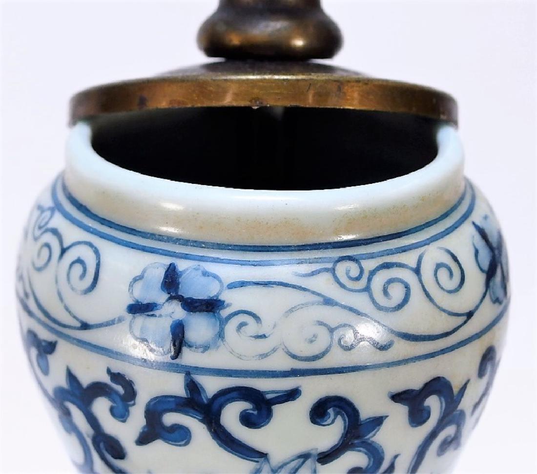 Chinese Export Blue & White Porcelain Vase Lamp - 7